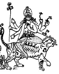 Durga is a warrior goddess who rides a tiger