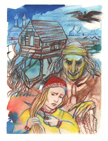 Baba Yaga, illustration © 2002 Marge Simon